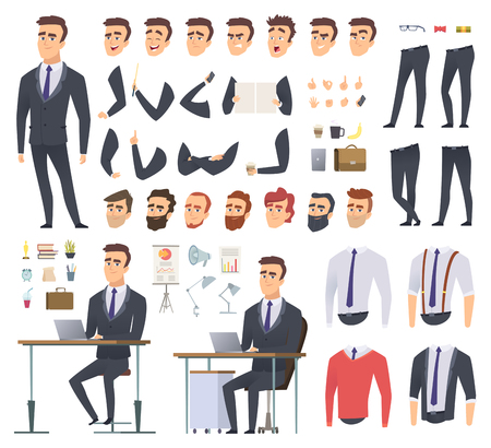 Manager creation kit. Businessman office person arms hands clothes and items vector male character animation project. Illustration of business man creation, body and emotion construction Ilustrace