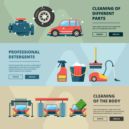 Car wash banners. Cleaning service water bucket and wiping sponge vector concept pictures. Illustration of carwash station, car service web banner