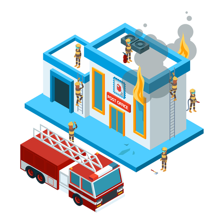 Building in flame isometric. Firefighters at work extinguish fire from hose at red big car burning city vector 3d landscape. Illustration firefighter and building with fire Stock Vector - 127699701
