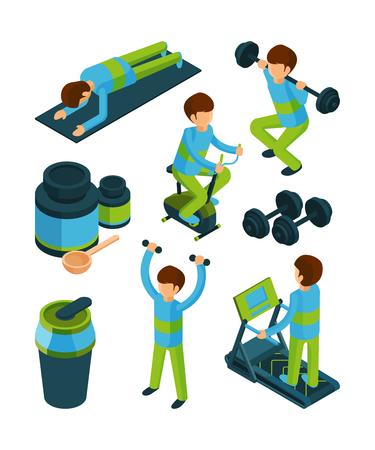 Sport people isometric. Exercises and fitness equipment for health gym tools vector 3d collection isolated. People in gym exercise, fitness equipment isometric illustration