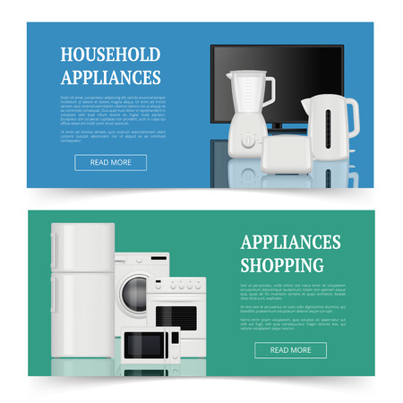 Appliances shopping. Advertising of electrical home household equipment kitchen items vector realistic banners template. Household equipment, microwave and appliance device illustration