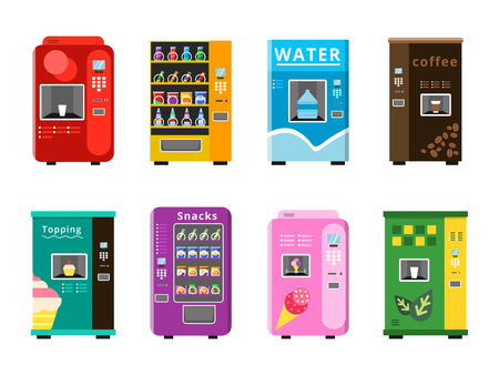 Vending machines. Automatic selling foods snacks and drinks coffee ice cream and popcorn vector flat illustrations. Vending automatic with snack food and water