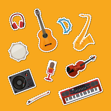 Vector cartoon musical instruments stickers set illustration. Instrument guitar and drum, tambourine and synthesizer