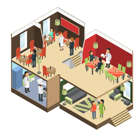 Restaurant interior. Isometric bar cafe buffet building with eatting guests vector 3d pictures. Illustration of building isometric restaurant, interior cafe