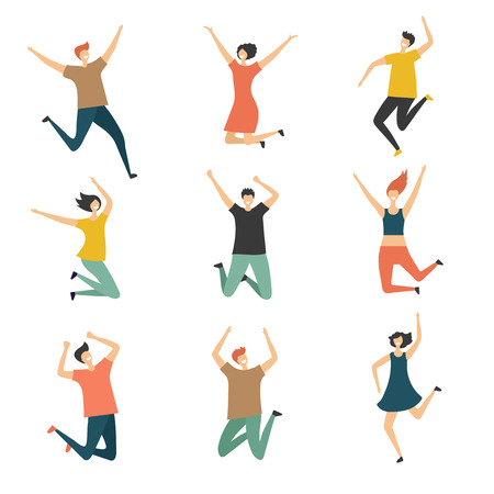 Happy people jumping. Celebrate jubilation jump group of man and women teens laughing cute and funny vector stylized characters. Illustration of jump happy people, young boy and girl
