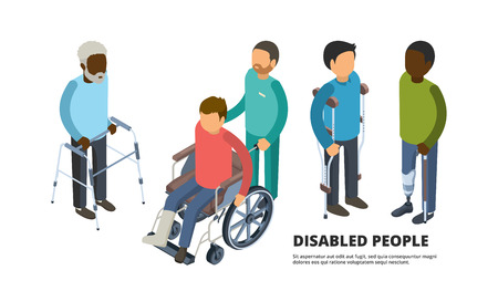 Invalids isometric. Defective adult peoples with broken legs medicine patient in wheelchair vector 3d health care illustrations. Invalid wheelchair, isometric people disabled