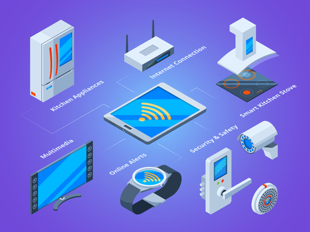 Smart households connection. Kitchen tools tv set microwave multimedia home connecting to smartphone vector isometric pictures. Illustration of innovation automated communication, connection device