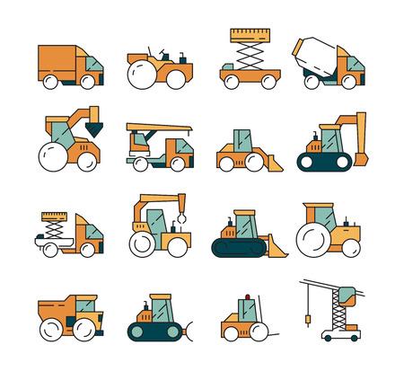 Bauverkehr. LKW-Asphaltautobahn für schwere Maschinen auf Maschinen für Bauherren, die Kranplanierraupentraktoren Vektorfahrzeug anheben. Maschine für den Bau, Automobil-Erdbewegungsillustration Vektorgrafik