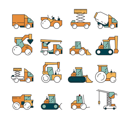 Construction transport. Heavy machinery truck asphalt highway on machines for builders lifting crane bulldozer tractors vector vehicle. Machine for building, automobile earthmover illustration