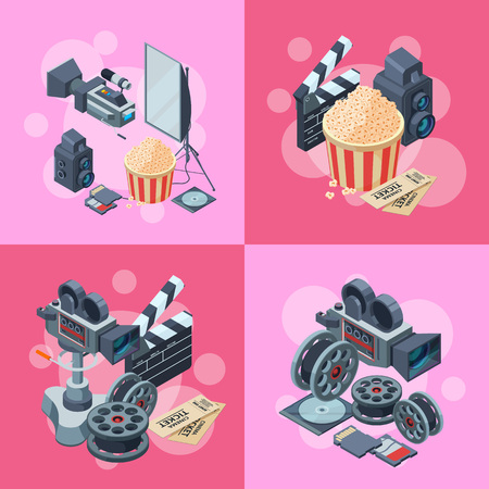 Vector cinematograph isometric elements infographic concept illustration. Cinema movie, entertainment 3d cinematography