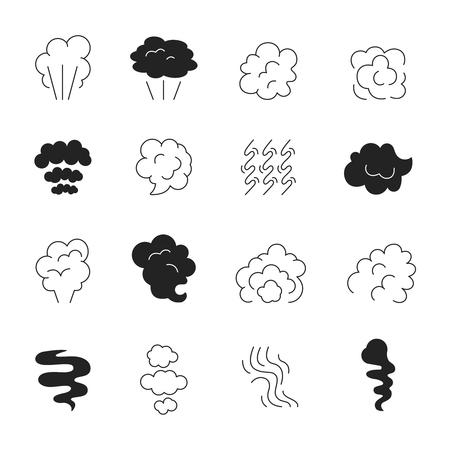 Icône de ligne de fumée. Odeur de vapeur et nuages fumants symboles stylisés silhouette images vectorielles isolées. Illustration de l'odeur d'arôme, nuage de gaz d'odeur