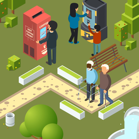 Vending machines urban park. Breakfast area business city people buying fast food snacks soda drinks ice cream vector isometric illustrations. Vending machine in green park, drink beverage merchandise 일러스트