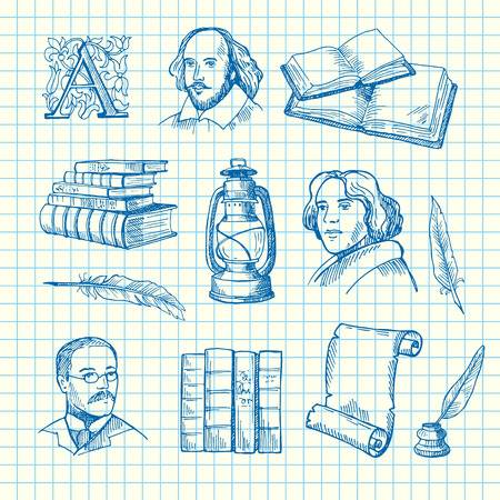 Vector hand drawn theatre elements set on blue cell sheet background illustration. Literature of book drawing, feather abd paper, shakespeare face