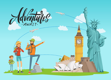 Vector concept illustration with world sights and happy family painting on them with lettering and clouds. Family travel and vacation trip Фото со стока
