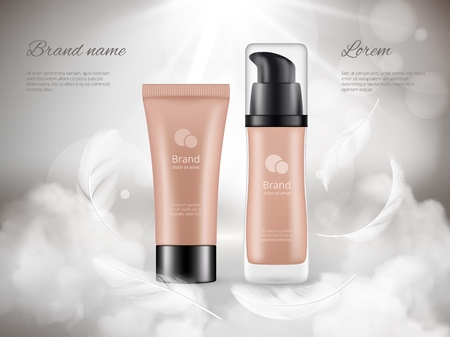 Cosmetics poster. Skin cream plastic bottles night clouds feathers steam luxury promotional advertizing realistic vector concept. Illustration of beauty cosmetic advertisement, packaging container