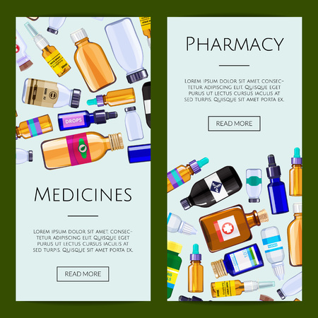 Vector pharmacy medicine bottles web banner or page templates illustration