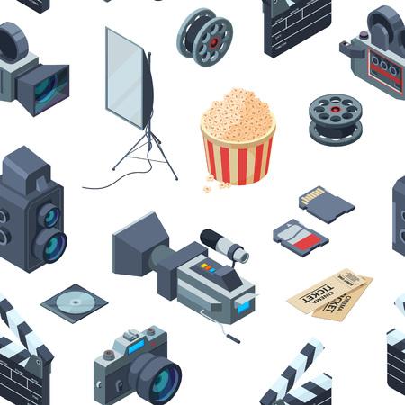 Vector cinematograph 3d isometric elements of set pattern or background illustration