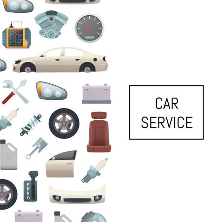 Vector car parts background illustration with text. Poster template for car service
