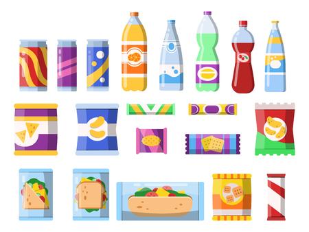 Refrigerios y bebidas. Productos de comercialización, comida rápida, envases de plástico, agua, refrescos, galletas, patatas fritas, barra, chocolate, vector, imágenes planas. Ilustración de sándwich de comida, bebida de botella y bocadillo