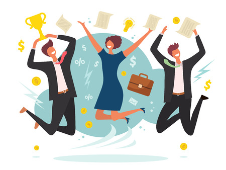 Business victory concept. Winning jumping happy peoples male and female team place vector flat characters background. Business man and woman achievement, team celebrating illustration 일러스트