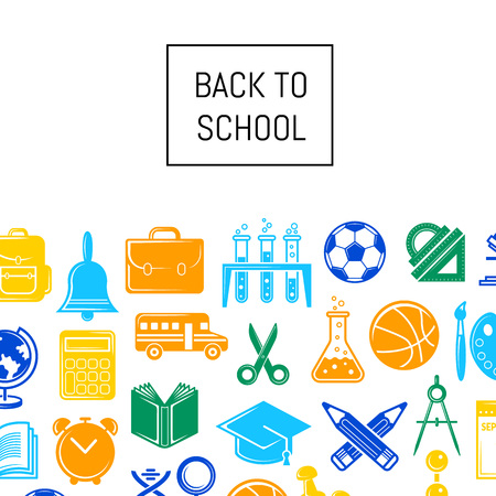 Vector back to school stationery background illustration. Web page colored banner Stock Photo