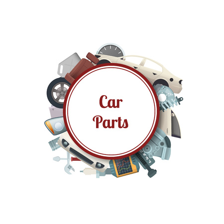Vector car parts under circle with place for text illustration isolated on white