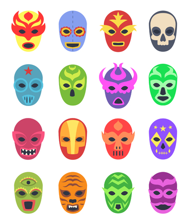 Wrestler masks. Mexican martial fighters sport clothes colored lucha libre masked vector collection. Illustration of wrestler mask, mexico entertainment culture