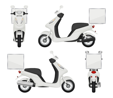 Moto bike realistic. Views of scooter for delivery service auto top side back vector 3d transport isolated. Scooter urban transport, speed drive transportation illustration