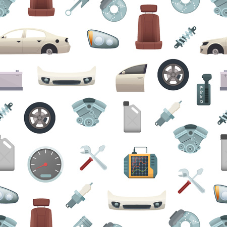 Vector car parts pattern or background illustration. Elements for auto service