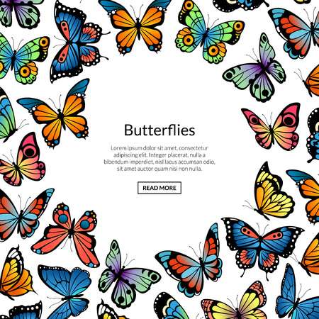 Vector decorative butterflies background illustration, banner and poster. Illustration of butterfly banner ornate Ilustrace