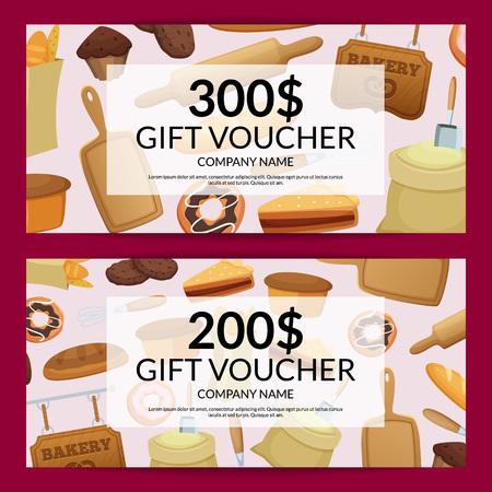 Vektorkarikatur-Bäckereikartenrabatt mit Preis- oder Geschenkgutscheinschablonenillustration