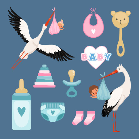 Newborn icons set. Cute items for kids dresses flowers toys toddler flying stork with baby vector colored items. Illustration of baby girl and boy, newborn arrival Standard-Bild - 127461501
