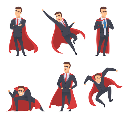 Businessman superheroes. Office managers directors workers red cloak standing flying action poses superheroes vector characters. Illustration of businessman superhero, super man in costume