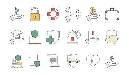 Business protection icon. Life protection safety money insurance liabilities caring medicine health protect vector linear symbols. Illustration of insurance property house, travel and ship