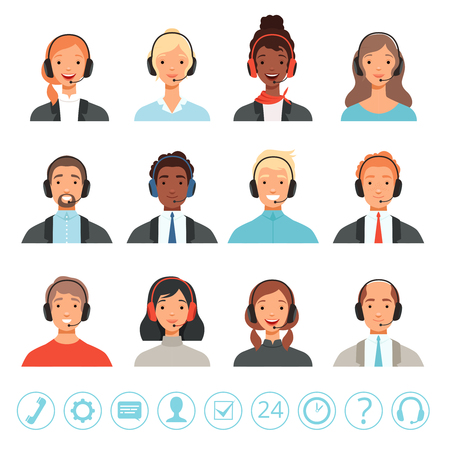 Call center operators avatars. Male and female customer service contact help managers vector web pictures. Illustration of contact help operator, male and female communication telemarketing Illustration