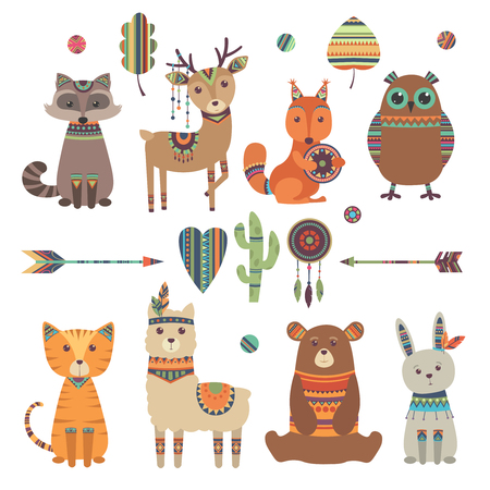 Cute ethnic animals. Tribal kid wild zoo bear owl raccoon tiger with feathers arrows and patterns vector design characters. Illustration of ethnic tribe rabbit and bear characters