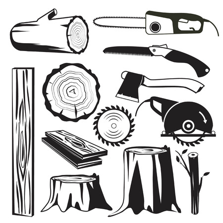 Wood trunks black. Wooden industry forestry tree elements vector monochrome pictures. Illustration of wood trunk and forestry industry, instrument sawmill and equipment for cutting Ilustrace