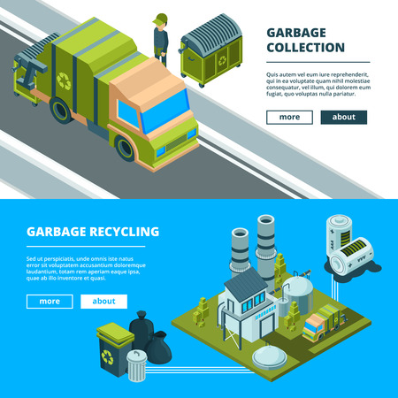 Cleaning recycling waste banners. Sorting garbage and cleaning urban environment trash incinerator truck vector concept pictures. Isometric trash garbage, waste transportation recycling illustration Stockfoto