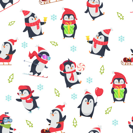 Pinguin seamless pattern. Cartoon textile design with vector illustration of winter snow wild cute animal in various action pose. Arctic penguin animal pattern seamless, snowboard and sleigh