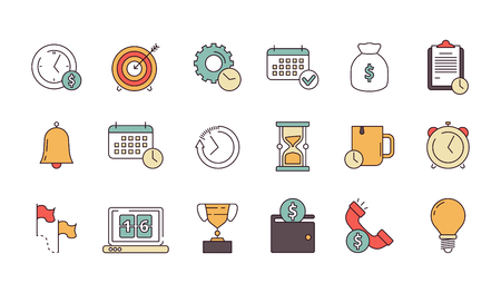Productive management icon. Business productivity remind services save time employees forecast vector linear symbols isolated. Business punctuality clock, reminder deadline productivity illustration