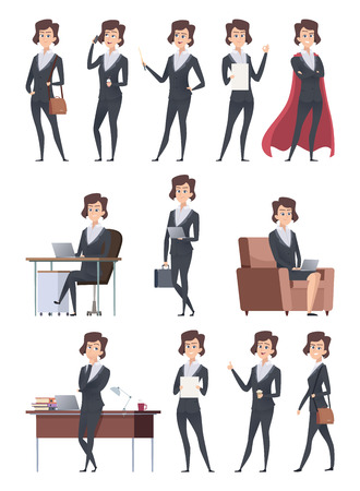 Female business characters. Company office workers action pose making different works with self business items vector cartoon pictures. Illustration of business office boss, leadership pose