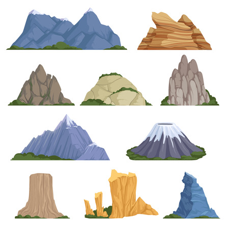 Rockies mountains. Volcano rock snow outdoor various types of relief for climbing and hiking vector cartoon illustrations. Volcano rock, mountain and hil, rocky peak