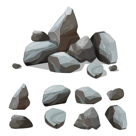 Cartoon mountain stones. Rocky big wall from gravels and boulders vector creation kit with various colored parts of stones. Illustration of rock stone pile, material granite solid, boulder and rocky Banco de Imagens