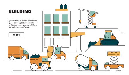 House construction. Heavy building machines linear background illustration concept picture for design project. Illustration of construction building equipment, loading and lifting, digger excavator