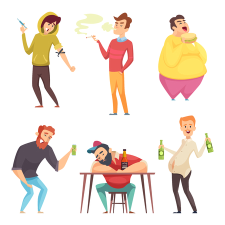 Addicted lifestyle. Alcoholism drugs and addiction from unhealthy habits vector cartoon characters in action poses. Alcohol addiction drug and alcoholic drink illustration
