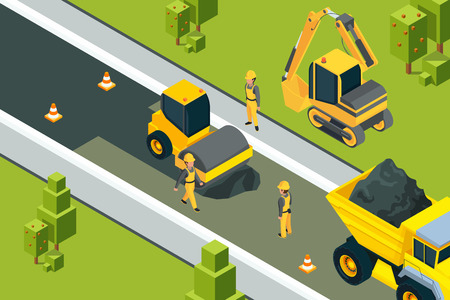 Asphalt street roller. Urban paved road laying safety ground workers builders yellow machines isometric vector landscape. Illustration of road construction asphalt, equipment transportation Stock Photo