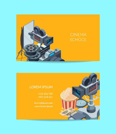 Vector colored cinematograph isometric of elements business card template illustration