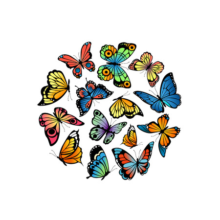 Vector decorative butterflies in circle shape illustration isolated on white background