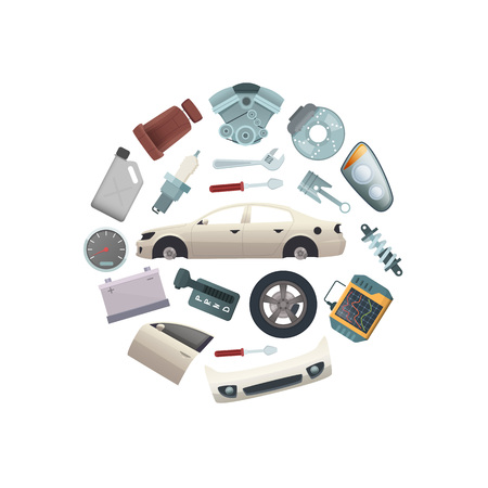 Vector car parts in circle shape illustration isolated on white background