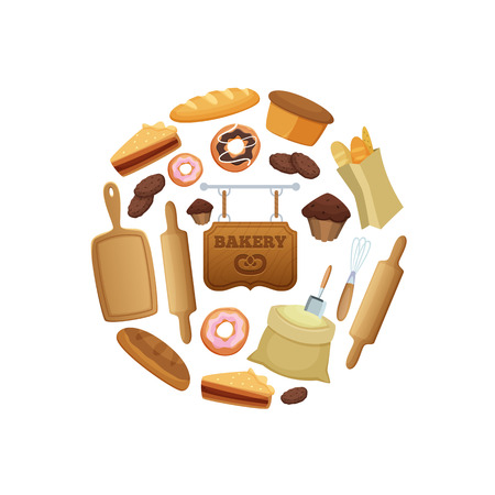 Vector cartoon bakery in circle shape illustration isolated on white background